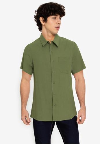 ZALORA BASICS green Unfinished Hem Shirt 39CCFAA653CE2EGS_1