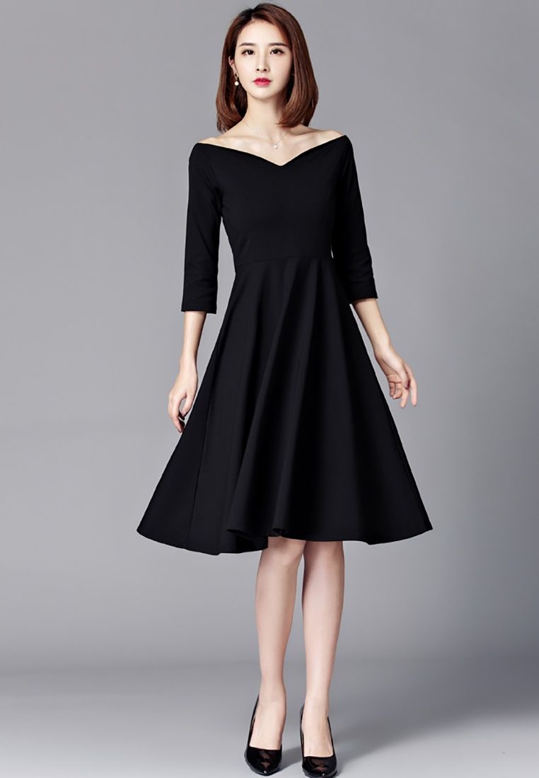 black Dress Elegant Slash Black Lara Neck V WpqAYAvwR