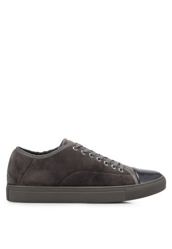 ZALORA grey Velvet Laced Up Sneakers 7D892SHEDBA5C1GS_1