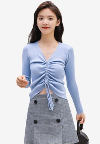 Shopsfashion blue Lace Up Blouse 831C1AA62AC0E7GS_1