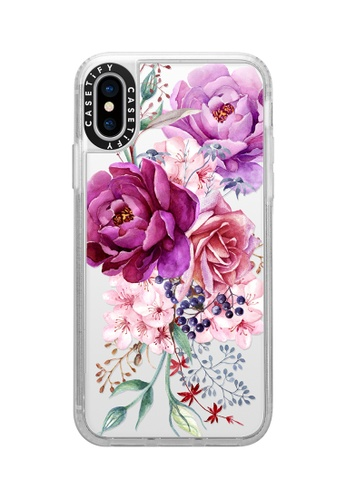 Casetify white and multi Purple Peony Watercolour Classic Grip Case For Phone XS/ iPhone X - Frost D2F7BACEA6AE7AGS_1