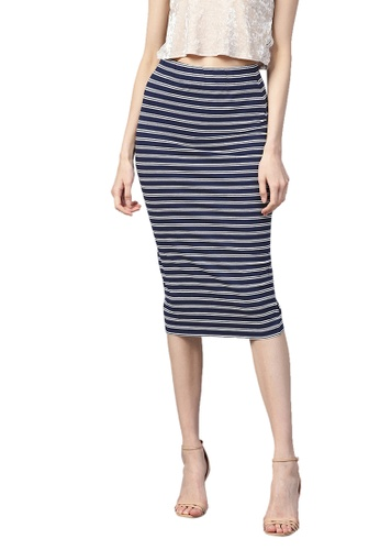 SASSAFRAS navy Navy White Stripe Pencil Skirt 2F935AADF776ADGS_1