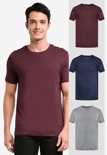 Burton Menswear London grey 3 Pack Grey Marl, Raisin And Navy Crew Neck T-Shirts 3B9E3AA1A3C2DAGS_1