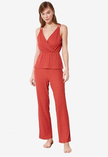 Trendyol red 2-Piece Wrap Cami Pajamas Set ED8A8AAEDCE74FGS_1