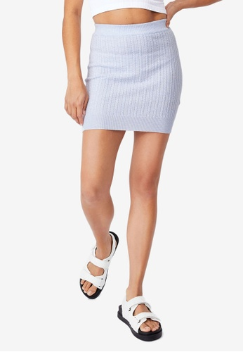 Cotton On blue Ultimate Knit Cable Mini Skirt E5577AA7A59496GS_1