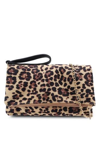Red's Revenge beige Leopard Spots Fabric Foldover Clutch 24777AC321D07FGS_1