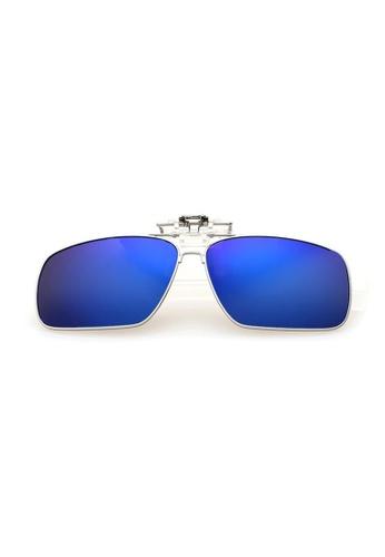 A FRENZ blue Full Rim Polarized UV400 Flip-Up Large Clip On Sunglasses 0253CGLACD56A7GS_1