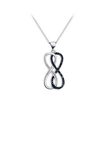 Glamorousky black 925 Sterling Silver Fashion Double Infinity Symbol Pendant with Black Cubic Zirconia and Necklace 07B83ACC26BB5BGS_1