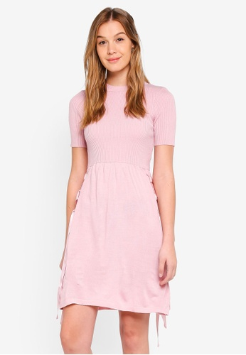 LOST INK pink Woven Tie Waist Fit And Flare Dress 97095AA5859DE6GS_1