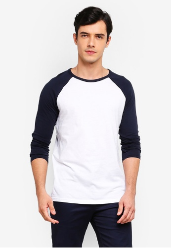 Burton Menswear London 海軍藍色 海軍藍 And 白色 長袖Raglan T-襯衫 1F420AA1361560GS_1
