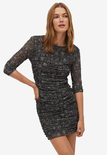 Mango black Print Draped Dress 7F124AAE605D9BGS_1