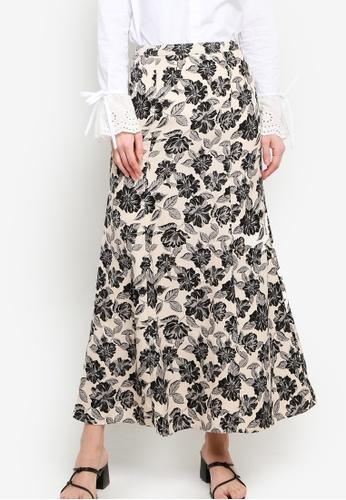 Zalia black and beige Printed Kick Flared Skirt 75B6DAAF29AB78GS_1