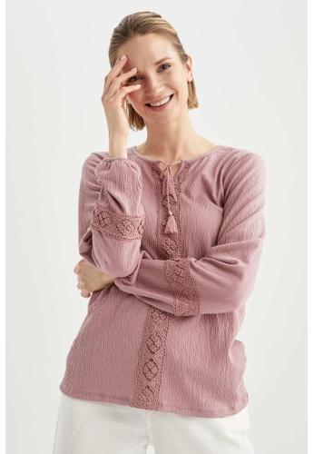 DeFacto pink Long Sleeve Blouse C015DAA868D83BGS_1