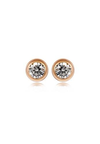 CELOVIS gold CELOVIS - Lux Classic Bezel-Set Solitaire Stud Earrings (Rose Gold) 5EF47ACFE1BA83GS_1