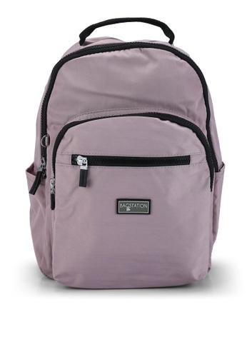 Bagstationz purple Contrast Zip Nylon Small Backpack 99790AC4976C5FGS_1