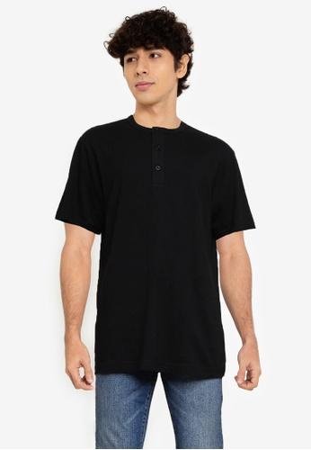 GAP 黑色 SFT Henley T恤 2E94FAABAA6547GS_1