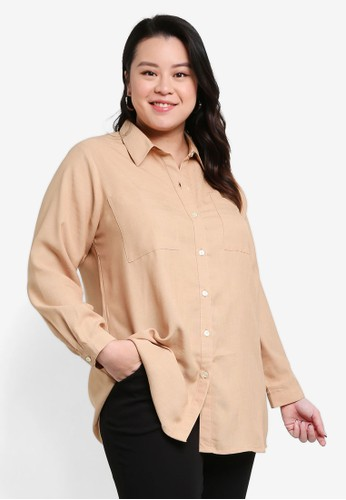 Ex'otico brown Pocket Long Blouse 594F0AA90195DFGS_1