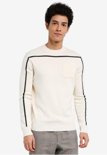 MANGO Man 米褐色 長袖條紋滾邊毛衣 D4D4CAA80F1A98GS_1