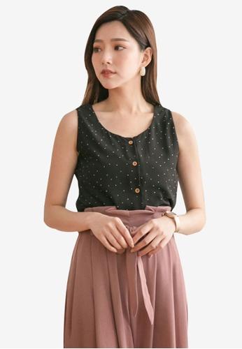 Tokichoi black Sleeveless Button Front Top 922EFAAE139879GS_1