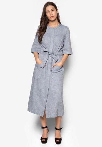 亞麻五分袖腰帶連身裙, 服zalora鞋子評價飾, 洋裝