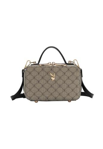 PLAYBOY BUNNY black and grey Playboy Bunny Monogram Sling Bag 2E5B3AC4C0BA0BGS_1