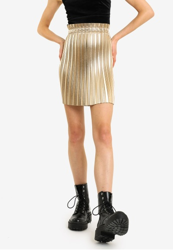 PIMKIE gold Faux Leather Pleated Skirt F8450AA34927B2GS_1