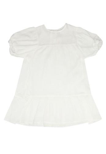 MANGO KIDS white Organic Cotton Ruffled Dress 098B9KA11F3269GS_1