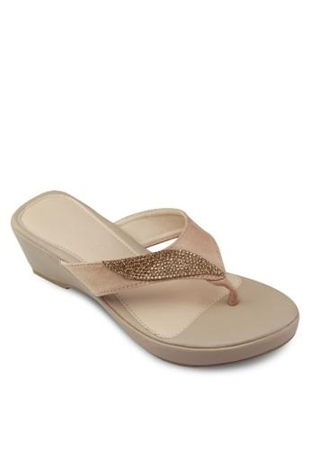 閃飾楔形夾腳涼鞋, 女鞋, 楔zalora時尚購物網的koumi koumi形涼鞋