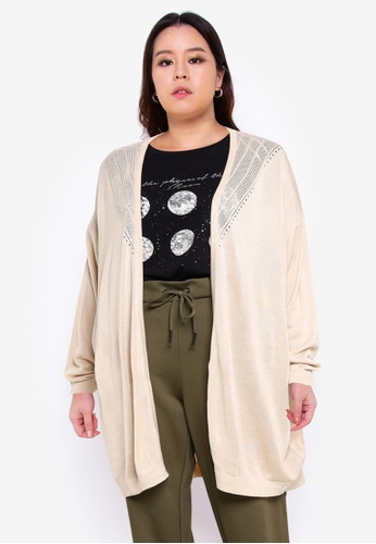 Only CARMAKOMA grey Plus Size Kath Long Sleeves Cardigan 30C7DAA0775D05GS_1