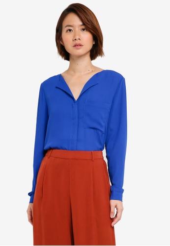 Selected Femme blue Dynella Long Sleeve Shirt 19507AA15E0F11GS_1