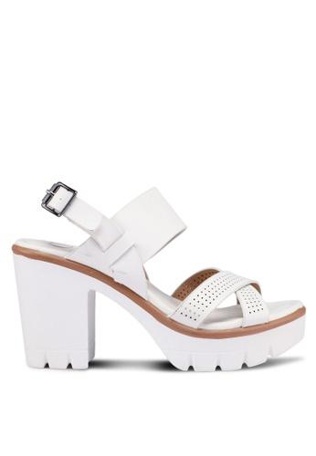 Carlton London 白色 交叉繞帶厚底高跟鞋 762E0SHB6DBB54GS_1