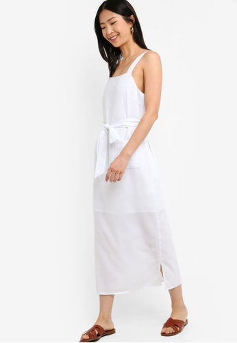 ZALORA BASICS white Basic Tie Straps Midi Dress D1F2AAAE7AF381GS_1