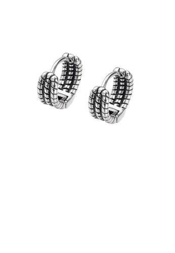 Glamorousky silver Fashion Vintage Geometric Twist Circle 316L Stainless Steel Stud Earrings CAED7AC36EAE71GS_1