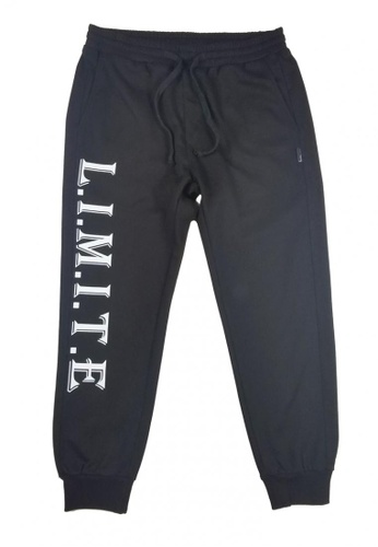 L.I.M.I.T.E black Printed Sweat Pants LI425AA0FCJASG_1