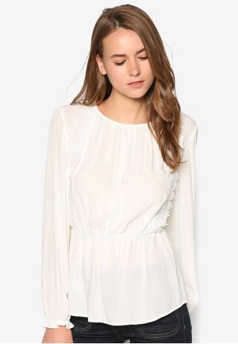 zalora時尚購物網的koumi koumi蕾絲拼接收腰長袖上衣, 服飾, 上衣