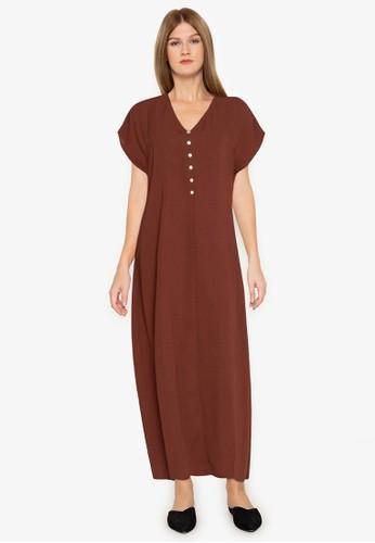 ZALORA BASICS brown Button Down Short Sleeve Maxi Dress 6DB6AAAE0627A1GS_1