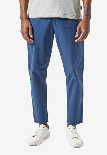 Burton Menswear London blue Denim Blue Tapered Chinos 19D1CAAACDB404GS_1