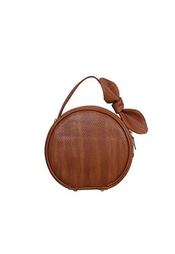 Verchini brown Verchini Top Zip Bow Round Tote Shoulder Bag AB4CCACFA96969GS_1
