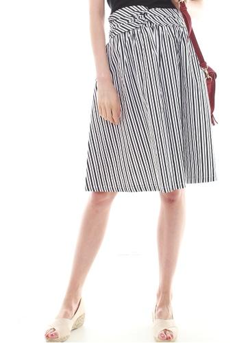 JOVET black and white Stripes Skirt JO914AA0F4P3SG_1