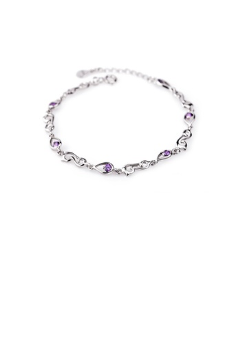 Glamorousky purple 925 Sterling Silver Fashion Simple Geometric Bracelet with Purple Cubic Zirconia E98F3ACABB3285GS_1