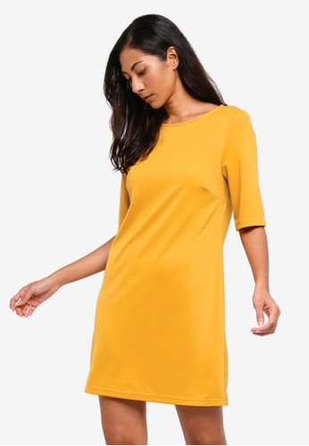 ZALORA BASICS yellow Basic Elbow Sleeves Shift Dress 8376DAA5252536GS_1