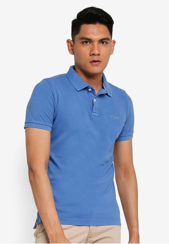 SUPERDRY blue Vintage Destroyed Short Sleeve Pique Polo Shirt D4198AA787FCA9GS_1