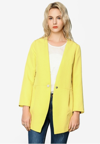 Hopeshow yellow Loose Fit Blazer 691E9AA60ADADDGS_1