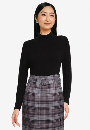 LOWRYS FARM black Ribbed Knit Pullover Sweater B054FAA8DD5A75GS_1