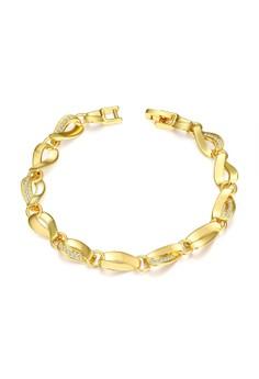 Treasure by B&D B011-A Plated Twist type hollow Chain Zircon Bracelet