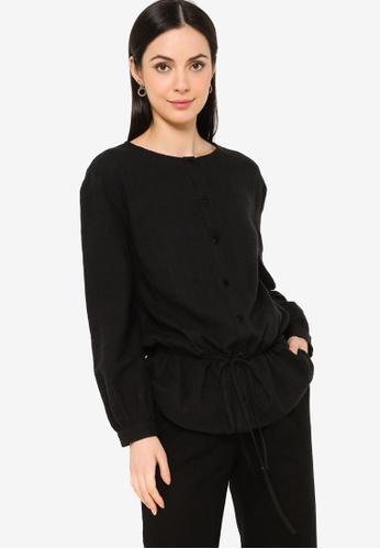 ZALIA BASICS black Round Neck Textured Blouse E2666AA9FD7875GS_1