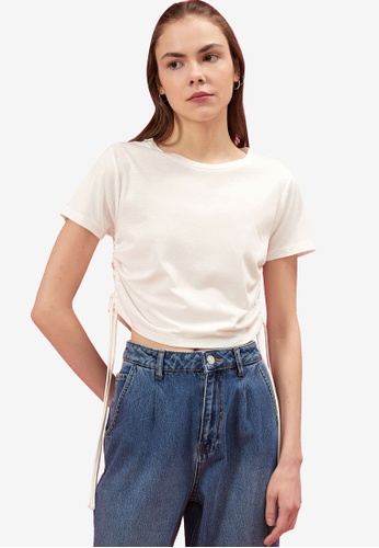 KOTON white Ruched Crop Tee 70D65AA79CBF69GS_1