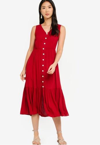 ZALORA BASICS 紅色 Sleeveless Tiered Midi Dress 996EFAA32C5094GS_1
