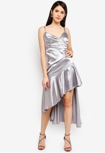 5b4c80e3dd5 Goddiva silver High Low Pleated Satin Midi Dress 43A09AA34BEC34GS 1