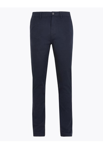 MARKS & SPENCER navy M&S Slim Fit Stretch Chinos 2A7D2AA5CC427DGS_1